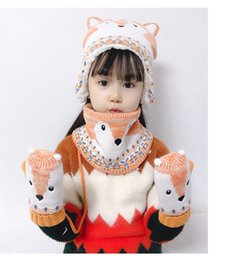 knitted childrens spring hats UK - Hot Style Baby Knitted Hat New childrens Cartoon Fox Ear Cap Baby Glove Scarf Three Pieces Suit Thickened Snow Knit Hat
