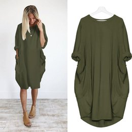 8b7c0098ca Womens Solid Color Dress Fashion Pocket Loose Dress Ladies Crew Neck Casual  Long Tops Dresses Plus Size summer dresses 2019 NEW
