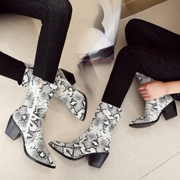 $enCountryForm.capitalKeyWord Australia - PXELENA Hot Ins Women Cowboy Boots Snake Print Chunky Block Square High Heel Western Combat Martin Ankle Boots Shoes 44