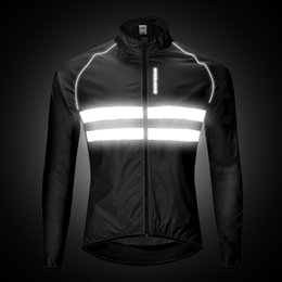 Ingrosso WOSAWE Uomo Giacca da corsa Antivento Resistente all'acqua Alta visibilità Abbigliamento sportivo Ciclismo Bicicletta Riflettente da pioggia