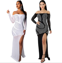 2019 rhinestone strass sexy party dress mulheres black slash neck manga comprida ver através do vestido elegante white high side fenda maxi dress