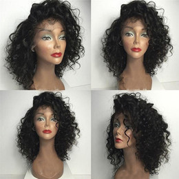 hottest wigs full lace Australia - Hot Selling Style Indian Virgin Human Hair High Quality Swiss Lace Front Wigs Deep Curly Full Lace Wig