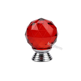 $enCountryForm.capitalKeyWord Australia - Chrome polished strong solid zinc alloy base clear hot red crystal cabinet door cabinet furniture pull knobs