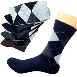 plaid socks for men 2019 - 5 Pairs Autumn Winter High Quality Men Business Cotton Socks For Man Diamond Plaid Long Socks Male Crew Sock Meias Calce
