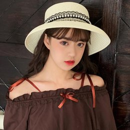 ea0ca80c HT2371 Straw Hat 2019 New Women Summer Hat Ladies Elegant Cloche Style Lace Pearl  Sun Female Wide Brim Beach