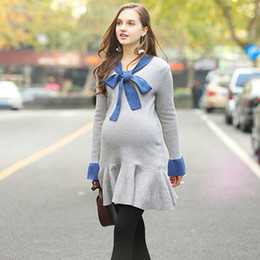 Wholesale knit a sweater resale online - Butterfly Tie Knitted Dress Dresses for Pregnant Women Loose Lotus Edge Sweater Round Collar Long Sleeves