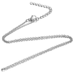 $enCountryForm.capitalKeyWord Australia - 5pcs lot 316L Stainless Steel 1.6mm Tiny Cross Rolo Link Chain Silver Tone Men Adjustable Cable Necklace Chain 40-80cm Length