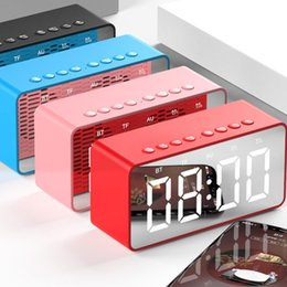 mirror speakers NZ - TPFOCUS LED Mirror Alarm Clock Portable Mini Bluetooth Speaker Desktop Mirror Screen Display Alarm Clock Home Decoration