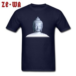 blue cotton men NZ - Man T Shirt 3D Buddha Print Tshirt O Neck Cotton Clothes Blue Men's T-shirts Wholesale Short Sleeve Tops & Tees Autumn New