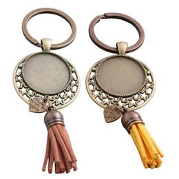 $enCountryForm.capitalKeyWord NZ - SWEET BELL 5pcs 9 color Metal Tassels Key Rings Chain Filligree star Fit round 25mm Cabochon Logo Pendant Diy Jewelry D6455
