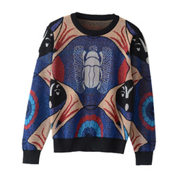wholesale beatles shirts Australia - Wholesale Women Sweater Autumn Winter Star Golden Beatles Jacquard Abstract Design Long Sleeve Knitted Shirt Tops