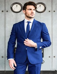 Images Fashionable Suits Australia - New Fashionable Groom Tuxedos Groomsmen Two Button Royal Blue Notch Lapel Best Man Suit Wedding Men's Blazer Suits (Jacket+Pants+Tie) 1266