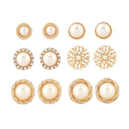 Matching Jewelry Sets Wholesales Australia - Temperament Round Pearl Retro Earring 6 Pairs 1 set Pearl Flower Stud Earrings Fashion Jewelry for Women Daily Match 25g