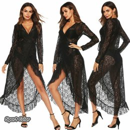 Wholesale sarong bikini dress for sale – plus size New Design Long sleeves Sexy Swimsuit Cover Up Popular Beach Dress Beach Cover Lady Romantic Lace Pareo Sarongs Bikini Tunic