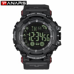 girls smart watches 2019 - PANARS Elegant Black Smart Watches for Phones 5ATM Waterproof Step Motion EL Lights Sports Digital Wristwatch Women Girl