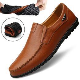 $enCountryForm.capitalKeyWord Australia - Summer Flat Shoes Men Leather Shoes slip on Loafers Breathable Driving Formal Dress Designer Male mocassin homme size 47