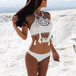 $enCountryForm.capitalKeyWord Australia - 2019 Tassel Design Hollow Knitting Swimsuit Bikinis Set Bohemia Women Bathing Costume Sexy Ladies Tankini Swimsuits Swimwear Y19072501