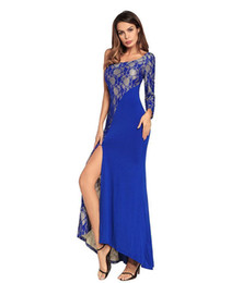 $enCountryForm.capitalKeyWord UK - Women Party Formal Dresses Long Floor-length One-shoulder Lace Patchwork Summer Spring Maxi Dresses