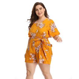 $enCountryForm.capitalKeyWord Australia - Women Playsuits Summer 2019 Office Lady Style Sexy Loose Floral V-Neck Short Sleeve Sashes Yellow Plus Size Playsuit