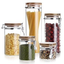 sealed jars Canada - Storage Bottles Glass Container With Lid For Spices Confectioner Food Sundries Tea Coffee Sugar Sealed Kitchen Mason Jar SH190925
