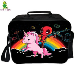 $enCountryForm.capitalKeyWord NZ - Deadpool Rainbows Unicorn Lunch Bag with Ice Pack Thermal Insulated Bag Picnic Camping Shoulder Fresh Keeping Ice Cooler