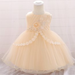 baby wedding dresses year UK - 2019 Newborn Christening Dress For Baby Girl Clothes Wedding Pearl Dresses 1 Year Birthday Dress Cute Girl Party Princess