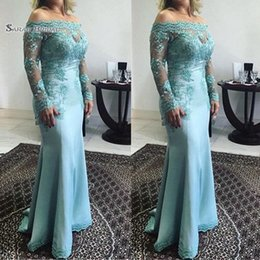 Off shOulder evening dress stOck online shopping - 2019 Mermaid Appliques Off Shoulder Long Sleeves Formal Evening Wear In Stock Hot Sales High end Quality Dress