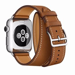 Double banD watch bracelet online shopping - PU Watchband Long Strap For Apple Watch Bands mm mm Double Circle bracelet for iWatch Series Fashion Women Strap