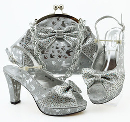 $enCountryForm.capitalKeyWord Australia - Good selling silver women dress shoes with rhinestone and butterfly knot style african pumps match handbag set MM1089,heel 10CM