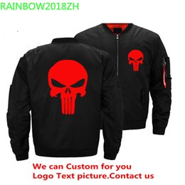 $enCountryForm.capitalKeyWord Australia - 2018 New Autumn Punisher Skull Black Bomber Jacket Men Streetwear Brand-clothing Warm Jackets Men Military Aviator Clothing