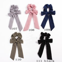$enCountryForm.capitalKeyWord Australia - Hair Bows Scrunchies Ponytail Holder Women Hair Accessories Elastic Bands Bowknot Scrunchy Streamers Fashion Ribbon Hair Ring 50pcs F402A
