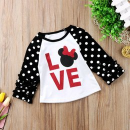 wholesale little girl tees shirts Australia - Little Kids Baby Girls Child Tees Casual Long Sleeve Love Polka Dot T-shirt Tops Shirts Clothes