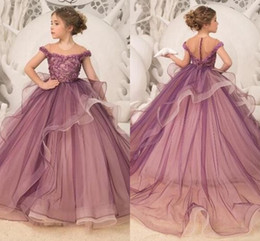 Kids party wear gown dress online shopping - Lovely Flower Girl Dresses Lace Appliques Beads Tulle Kids Formal Wear Princess Teens Pageant Party Dress First Communion Gowns BC2000