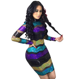 5de6b98b3ebe Striped See through dreSS online shopping - Lady See Through Mesh And  Sequined Spliced Sexy Pencil