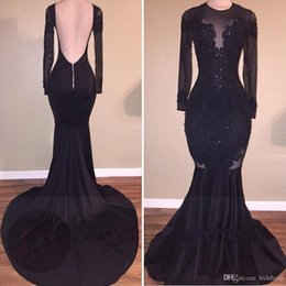 Hot Open Sexy Dress Australia - 2019 New Hot Sale Elegant Black Illusion Prom Dresses Mermaid 2018 Sexy Open Back Appliques Long Evening Gowns Special Occasion Dresses