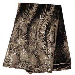 China 5 Yards High Quality Sequins Nigeria African Lace Flower Embroidered Cloth Beads African Lace fabric Wedding Party Women Dress suppliers