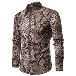 Discount fall trends clothing - 2019 Fashion Trend Men's Long Sleeve Button Shirt Tops Slim Fit Luxury Unique Stylish Snake Skin Pattern Shirts Pre