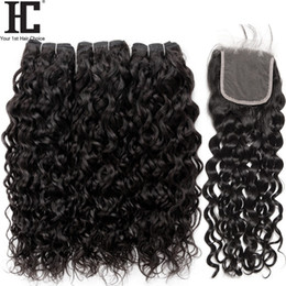 24 inch wet wavy human hair online shopping - Brazilian Virgin Hair Water Wave Bundles With Closure Brazilian Hair Weave Wet And Wavy Human Hair Bundles With Lace Closure
