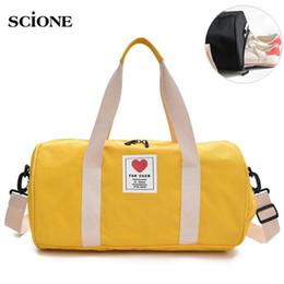 Cute Canvas Handbags Australia - Canvas Women's Travel Bags Yoga Gym Bag for Fitness Shoes Handbags Shoulder Crossbody Cute Women Men Sac De Sport Pack XA569WA #123432