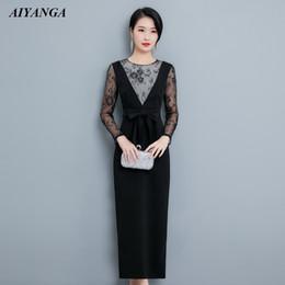 a3920f5a5 Nuevo Faux 2 unidades vestido de encaje de las mujeres 2019 vestido largo  para las mujeres primavera verano delgado de manga larga elegante señoras  vestidos ...