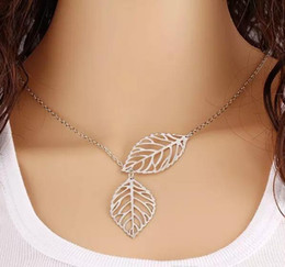 $enCountryForm.capitalKeyWord Australia - New Gold And Sliver Two Leaf Pendants Necklace Chain multi layer statement necklaces Woman Gift SALE