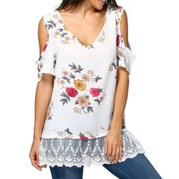 women floral blouses Australia - Plus Size 5XL Womens Tops and Blouses Tunic Floral Cold Shoulder Short Sleeve Tee Shirts Loose Lace Women Clothes camiseta