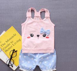 $enCountryForm.capitalKeyWord Australia - Summer Style Sets for Baby Girl Bowknot Rabbit Vest Shirt Tops+Pants 2Pcs Tshirt and Shorts Children Clothes Set