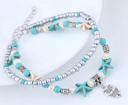Ancient Silver Owl Australia - Fashionable seaside restore ancient ways concise collocation mi zhu songshi starfish owl double deck anklets decorations brace