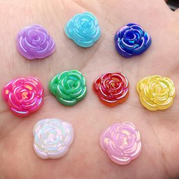 $enCountryForm.capitalKeyWord Australia - Rose Flower Stick On Resin Rhinestones Flatback Crystals DIY Stick-on Stones Flower Beads 240 pcs pack 14mm -E04