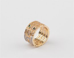 Chinese  Luxury Wedding Wide Rings Full CZ Diamond Hollow Snake Design Broad Ring Designer Fashion Wide Rings Gold Silver Rose Casual Ring Lover Gift manufacturers