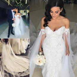 Train shawl wedding dress online shopping - 2020 New Romantic Plus Size Mermaid Wedding Dresses With Shawl Robe de mariee Sleeveless Applique Beading Pearls Court Train Bridal Gowns