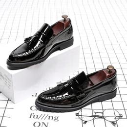 Ingrosso M-anxiu scarpe in pelle verniciata uomo nappa penny mocassini nero scarpe casual moda uomo mocassino festa nuziale dropshipping # 56283