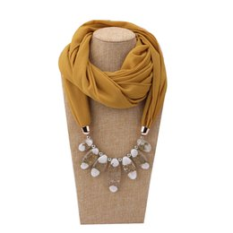 fab705f3a Decorative Scarf Women Solid Color Chiffon Necklace Resin Beads Pendant  Scarf New Style Muslim Head Scarves Hijab