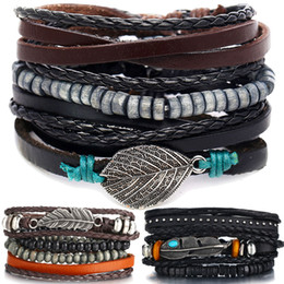 multiple women bracelet Canada - IF ME Vintage Multiple Layers Leather Bracelet Set for Men Women Charm Leaf Feather Stone Wood Beads Wrap Bracelets Pulseras NEW